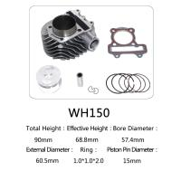 Buy cheap WH150 Aluminum Motorcycle Cylinder Kit With Piston , Piston Ring , Pin , Clip And Gasket product