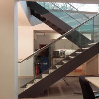 Buy cheap Double Stringers U-shaped Modern Wood Staircase Design for Villa product