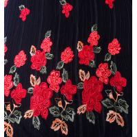 China chinese red rose velvet satin embroidery lace fabric for wedding dress on sale