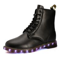 China USB shoes charging shoes LED lights shoes men boots all sizes pu uppper RB sole black or brown on sale