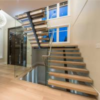 Buy cheap Contemporary floating staircase with wood tread invisible stringer straight stairs product