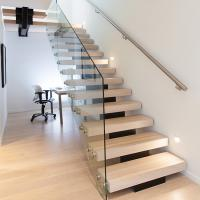 Buy cheap Modern Style Indoor Single Stringer Straight Steel Solid Wood Staircase product