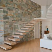 Buy cheap House Red Oak Tread Stairs Floating Cantilevered Staircase with Frameless Tempered Glass Railing product