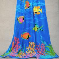 Tropical Fish Adult Beach Towels Navy Blue Large Beach