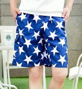 China Men's Blue Star Pattern Board Shorts Factory on sale