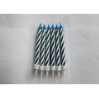 China Flameless Blue And White Long Birthday Cake Candles , Paraffin Wax Swirl Birthday Candles wholesale
