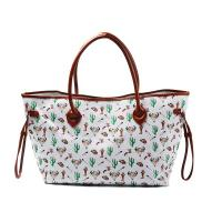 Buy cheap Womens Printed Large Canvas And Leather Tote Bags With Compartments product