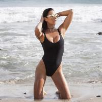 Buy cheap Black Retro Womens Swimming Suits High Cut Low Back One Piece Swimwear from wholesalers