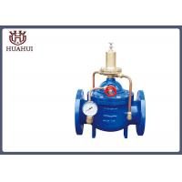China Double Flange Water Pressure Relief Valve Brass Pilot With Pressure Gauge on sale
