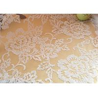 Embroidered Floral Sequin Netting Fabric , Sequin Tulle Fabric For Ivory Wedding Dresses