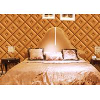 Buy cheap Diamond Pattern Inmitation Leather Asian Inspired Wallpaper Chinese Style Foam Process from wholesalers