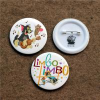 China custom luxury full color round button badge with safety pin , artwork printing factory wholesale