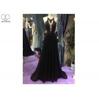 China Backless A Line Ball Gown White Black Color Hanging Neck Chiffon Lace Beading on sale