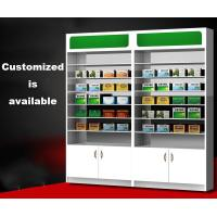 Buy cheap Customized Pharmacy Storage Cabinets Medicine Display Racks Glass Layer product