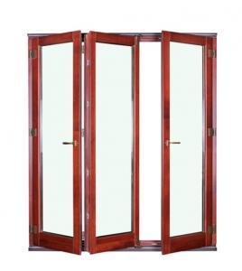 Buy cheap Wood Grain Frame Aluminum Folding Windows Double Laminated Glazed  ISO14001 product
