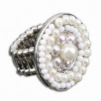 Buy cheap Ring, Made of Alloy with White Pearls, Various Designs are Available product