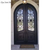 Buy cheap Wrought Rod Iron Front Double Doors For Sale with glass,black color product