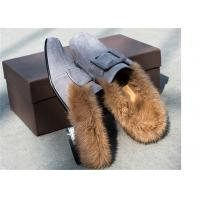 Quality Square Moc Toe Comfortable Trendy Shoes Ladies Suede Slippers With Sheep'S Wool for sale