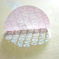 Buy cheap Pink PET Evident VOID Labels Custom Size For Hairpiece Bag adhesive packing Sticker product