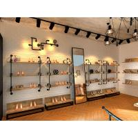Buy cheap Grainy Wooden Shoe Display Shelves Wall Hanging Shoe Rack Various Colors product