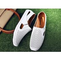 Buy cheap Anti Kicking Toe White Loafer Slip On Shoes Cowhide Leather Upper With Punching Holes product