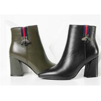 Buy cheap Plain Upper Ankle Length Boots Black Leather Heeled Ankle Boots With Side Zipper product