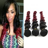 China Natural Red Human Hair Extensions Ombre Remy Hair Weave 1B / 99J Loose Wave Hair 10-30 on sale