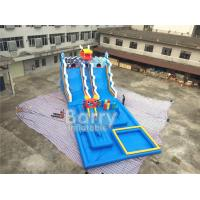China Summer Dragon Heald Blue Big Inflatable Water Slides With Pool For Kids Amusement on sale