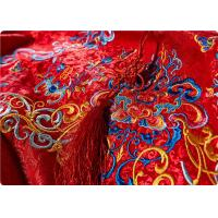 Buy cheap High End Embroidered Fabrics , Red Chinese Wedding Dress Fabric product