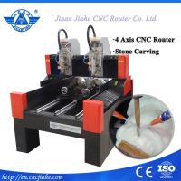 3D Jade stone cnc engraving machine with 4 axis structure and double spindle
