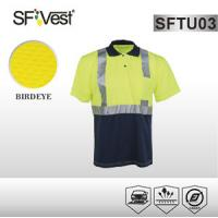 Security warning Button up Reflective Safety Shirts with polo neck and one chest pocket