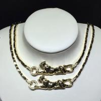 18K Yellow Gold High End Custom Jewelry Cartier Panther Necklace With Diamonds / Lacquer