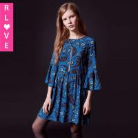 Buy cheap 2016 spring and summer bohemian floral dress trumpet sleeve loose doll dress for women product