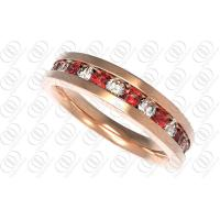 Buy cheap 18K Rose Gold Rings stainless steel mens jewelry With Red And Clear Tones product