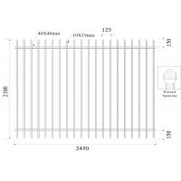 Buy cheap Crimped Spear Picket Garrison Fencing Panels 2.1mtr x 2.45m Rails 40mm 19mmx19mm picket spacing 100mm product