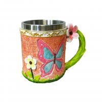Buy cheap 400ml flower polyresin double side stainless steel mug from wholesalers