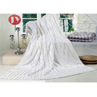 China Super Soft Faux Fur Throw Blanket , white bright Plush Striped Embossed Faux Fur Mink Throw on sale