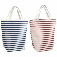 Buy cheap Resuable Blue Red Stripes 100% Cotton Shopping Bags With Logo PVC Liner product