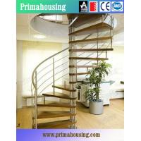 Buy cheap Wood Tread Steel Railing Loft Spiral Staircase For Small Places Space Saving product