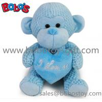 Buy cheap Special Valentines Day Gift Stuffed Blue Monkey Plush Toy With Blue Heart Pillow product