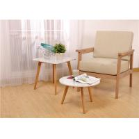 Buy cheap White Oak Wood Round Solid Wood Side Table Wood And Glass Environment - Friendl product