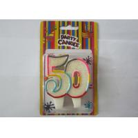 China Smokeless Glitter Rainbow Outline Number 50 Birthday Cake Candles For Anniversary wholesale