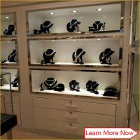 Buy cheap Modern glossy white material wood mdf glass jewellery display wall showcase with lights product
