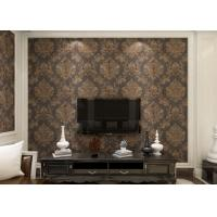 Buy cheap Removable Victorian Damask Wallpaper Embossed Black and Golden Pattern , 0.53*10m/ roll product