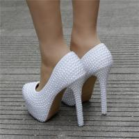 Custom Extreme High Heels Women's Pumps Matching Handbag Sets With Full Imitation Pearls Decoration