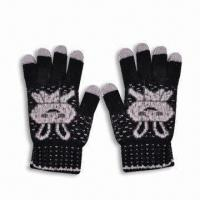 Buy cheap Touch Gloves, Made of 100% Cotton, One Size, Suitable for iPhone, Available in Purple Color product