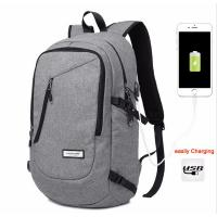Unisex Daily Use College Student Backpack Light Weight Cotton Fabric In Black / Grey