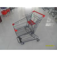 Buy cheap Grey Powder Coating 80L Supermarket Shopping Carts With 4 Inch PU Casters from wholesalers