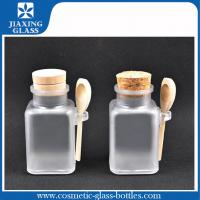 Buy cheap Frosted 100ml Plastic Cosmetic Bath Salt Bottles With Wood Cork And Spoon product