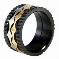 China 316L Stainless Steel Ring, Classical Design and Exquisite Workmanship, Various Colors Available on sale